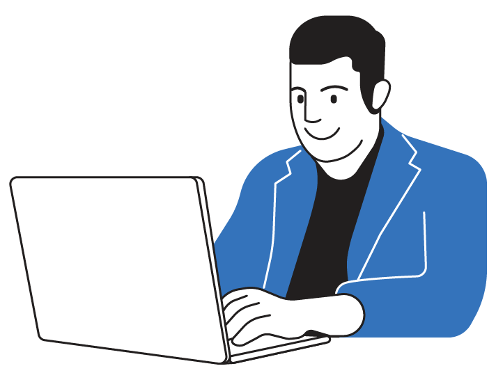Man on Computer Blue Light chin