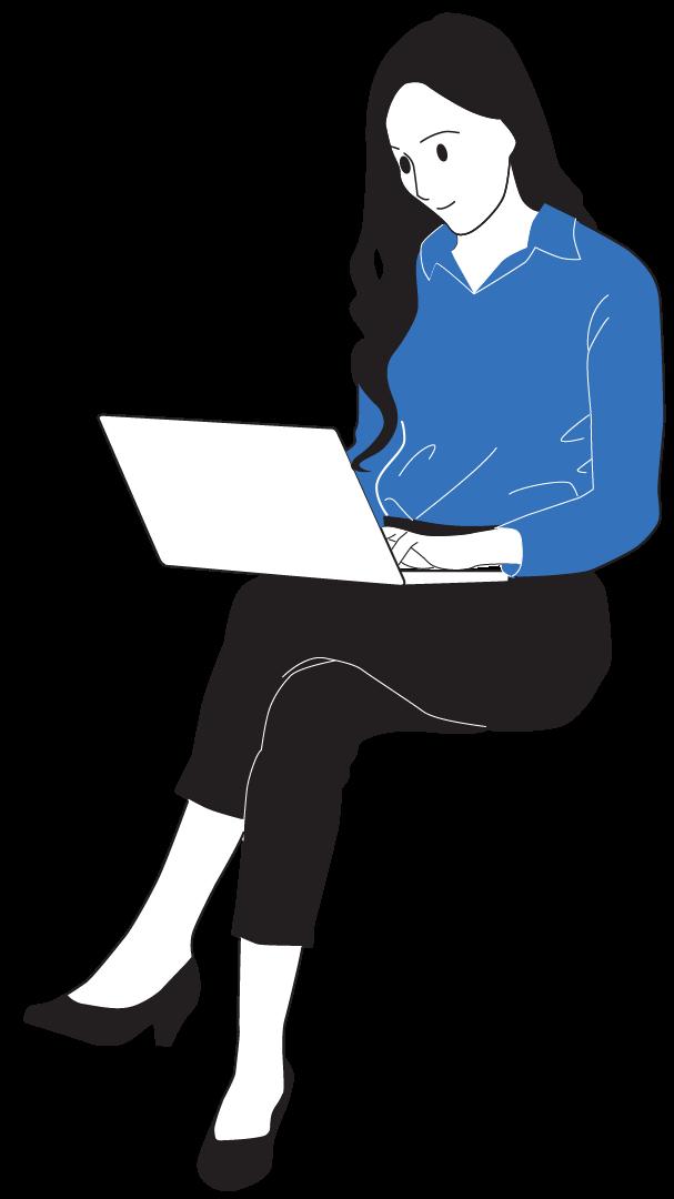 Woman Sitting Blue Light